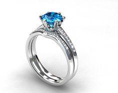 engagement ring set swiss blue topaz Diamond by TorkkeliJewellery
