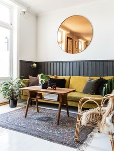 Gravity Home: Living room with yellow sofa in a Vintage Apartment in Norway Mustard Sofa, Mustard Walls, Mustard Yellow Decor, Yellow Interior, Interior House Colors, Yellow Kitchen Designs, Half Painted Walls, Bedroom Photography, Interior Design Photography