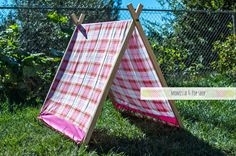 AFrame Play Tent for Kids with Pink and Orange Plaid Cover by Momista Beginnings (Momista & Pop Shop on Etsy)