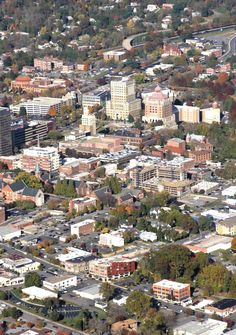Aerial view of Asheville