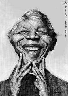 Ik vind deze afbeelding bij het begrip ''karikatuur'' passen, omdat het een humoristische voorstelling is van een persoon. (Nelson Mandela)