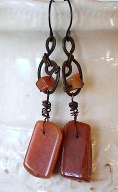 Carnelian Abstract Gemstone Earrings - Unique Artisan Jewelry.