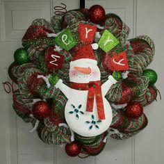 Snowman Wreath by DecoMeshbyKim on Etsy