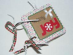 Christmas Joy - 4x4 Mini Chipboard Scrapbook Album. $15.00, via Etsy.