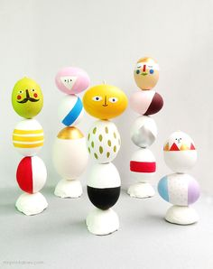 DIY Easter eggs mix n match sculpture activity - fun for kids to play with all the pretty decorated eggs