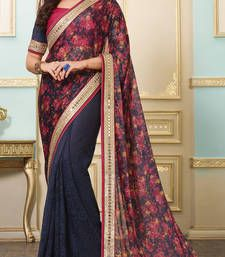 Buy blue embroidered lycra saree with blouse party-wear-saree online
