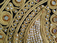 Pillow Cover, Heavy Gold Work, Pearls, Mirrors, Moon Pattern