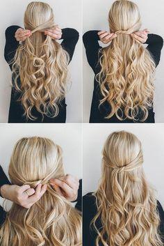 exPress-o: 1 Minute geknotete Hochsteckfrisur . - Zopffrisuren , wedding hairstyles exPress-o: 1 Minute geknotete Hochsteckfrisur . Simple Wedding Hairstyles, Easy Hairstyles For Long Hair, Trendy Hairstyles, Hairstyle Ideas, Office Hairstyles, Cute Simple Hairstyles, Easy Long Hair Styles For Wedding, Summer Hairstyles, Easy Hairstyles Tutorials