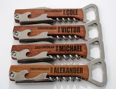 Groomsmen Gift Idea Personalized Bottle Opener Wedding Gift Engraved Corkscrew Groomsman Gift Bottle Opener Groomsmen Gift Set by ForeverWeddingCrafts on Etsy Wedding Store, Gifts For Wedding Party, Party Gifts, Wedding Favors, Our Wedding, Wedding Invitations, Destination Wedding, Wedding Souvenir, Summer Wedding