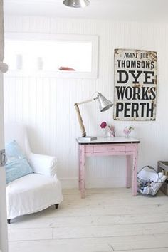 love the pink table and the old  sign