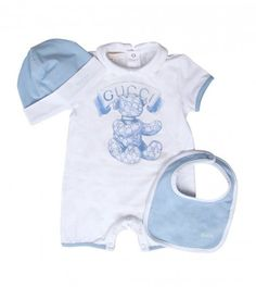 GUCCI Blue & White Cotton 'Teddy Bear' Gift Set Bib, Babygrow & Hat from…