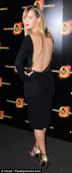 Jennifer Lawrence in a backless Tom Ford at the Paris Hunger Games Premiere