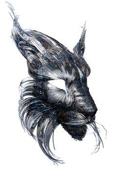 オオヤマネコの金属彫刻