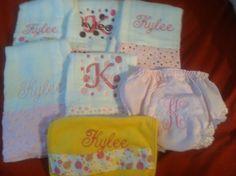 Super Size gift Set 7 Piece Monogramed burp clothes (5) bib(1) bloomers, via Etsy.