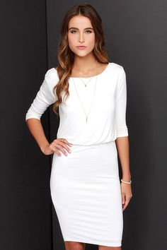 Lulus Exclusive! Day or night, and all year long, the All or Nothing Ivory Backless Dress will be your strongest staple! The softest ivory jersey knit lays the foundation for this chic half sleeve dress with a rounded neckline, and billowy bodice that perfectly complements the low, surplice back. From the fitted elasticized waist, a fitted tube skirt drops to end at a flattering length. Fully lined in ivory knit. Self: 95% Rayon, 5% Spandex. Contrast: 100% Polyester. Hand Wash Cold.