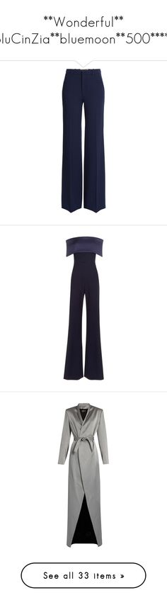 """""""**Wonderful** BluCinZia**bluemoon**500*****"""" by bluemoon ❤ liked on Polyvore featuring pants, trousers, bottoms, roland mouret, blue, zipper trousers, blue pants, zipper pants, wool pants and slim fit trousers"""