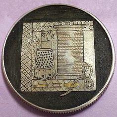 DOUG J. LARSON LOVE TOKEN - QUILT BLOCK THEME W/24kt. INLAY - NO DATE SILVER DOLLAR Hobo Nickel, Silver Dollar, Quilt Blocks, Coins, Carving, Quilts, Personalized Items, Love, Amor