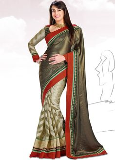 #Looks #Graceful #Preeti #Jhangiani #Inspired #Satin and Jacquard #Saree with Brocade Blouse AMST-2409. For more collection of #Celebrity Saree #shop @ www.manndola.com/sarees-online/bollywood-sarees