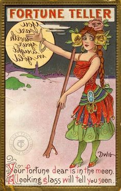 Vintage Fortune Telling Card - Clare Victor Dwiggins