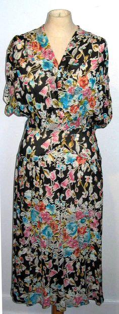 1940's Vintage  Floral sheer Dress Large/XL by MillerAndCampbell, $68.00