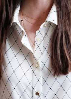 white patterned button-down // layering necklaces