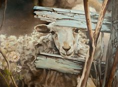 Sheep Painting Giclee Print of a sweet sheep KISS by pinkgloves2, $235.00