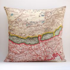 "Image of Vintage NEPAL BHUTAN #2 Map Pillow, Made to Order 18"" x18"" Cover"