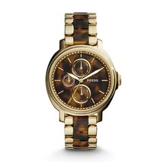 Chelsey Multifunction Stainless Steel and Acetate Watch \u2013 Two-Tone