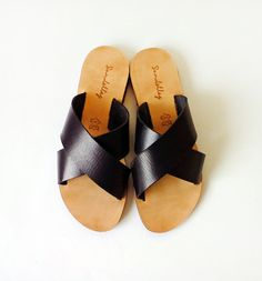 Sandals - Handmade Greek Style strap Sandals made from Genuine Black Leather. Variety of colors available