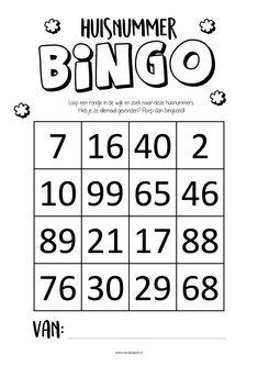 GRATIS printable. Loop een rondje in de wijk en zoek naar deze huisnummers. Heb je ze allemaal gevonden? Roep dan: bingo!! Diy For Kids, Crafts For Kids, 6 Year Old, Bingo, Maths, Jade, Printables, Templates, Envelope