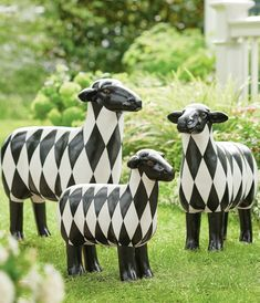 Stand out from the herd: our Harlequin Sheep goes from barnyard to the most unique home accent, crafted from durable resin and hand-painted in bold black-and-white. The neighbors will notice and you will smile each time you see it, indoors or out. With 360-degree sculpting, it's adorable from any angle.