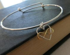 Infinity bracelet with Angel wing charm sterling silver