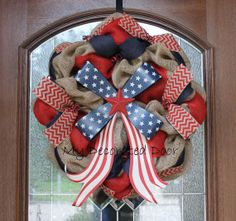 Patriotic Burlap Wreath - Memorial Day - July 4th - American Flag Bow Wreath on Etsy, $75.00