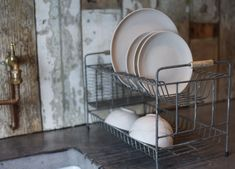 Nkuku Distressed Grey Dish Rack - Trouva