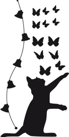 Not sure this will cut cleanly, but can recreate with Cricut cat and butterfly shapes cut separately Silhouette Clip Art, Silhouette Portrait, Applique Patterns, Quilt Patterns, Stencil Art, Stencils, Cat Crafts, Diy And Crafts, Wall Stickers