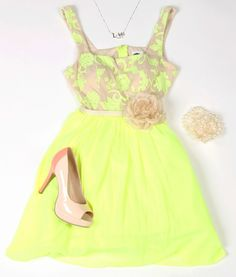 Deb Shops #neon and nude #party #dress
