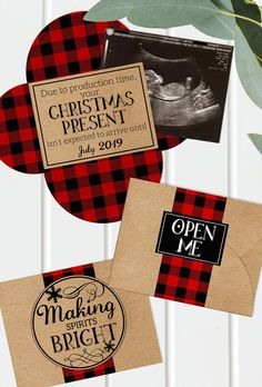Christmas Pregnancy Announcement - Printable - Grandparents - Gender Reveal - Buffalo Plaid - Baby Announcement - Digital File - Ultrasound Pregnancy First, Pregnancy Early Christmas Baby Announcement, Grandparent Pregnancy Announcement, Baby Announcement To Parents, Pregnancy Announcement Photos, Gender Reveal Announcement, Gender Reveal Gifts, Pregnant Mom, Baby Time, Baby Sleep