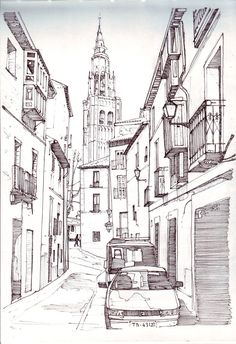 Toledo by on deviantart urban sketches in 2019 building sketch, d Cityscape Drawing, City Drawing, Building Drawing, Building Sketch, Landscape Drawings, Architecture Drawings, Art Sketches, Art Drawings, City Sketch