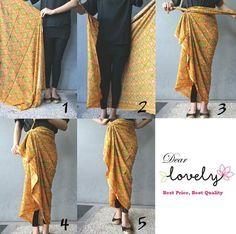 Tying a sarong / pareau. Batik Fashion, Ethnic Fashion, Look Fashion, Hijab Fashion, African Fashion, Fashion Outfits, Womens Fashion, Fashion Design, Kebaya Lace