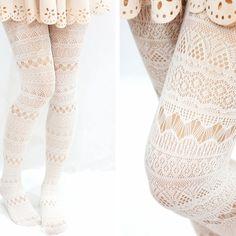Lolita aztec geometric fishnet white tights/ pantyhose