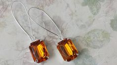Topaz Earrings made with Vintage Acrylic by ArtistInJewelry