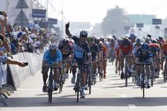 Cav celebrates victory on stage 1 of the Dubai Tour.
