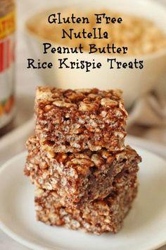 Gluten Free Rice Krispie Treats with Nutella & Peanut Butter