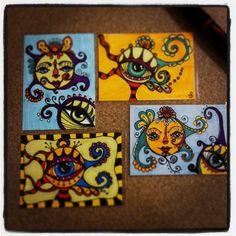 The eyes have ATCs - Art Education ideas Line Art Projects, Art Club Projects, High School Art Projects, Hamsa, Sketchbook Assignments, Art Trading Cards, Teen Art, 6th Grade Art, Art Curriculum