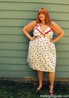 The Fat Girl's Guide. Plus size cherry print dress. vintage style