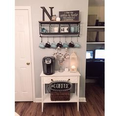 Here are 30 brilliant coffee station ideas for creating a little coffee corner that will help you decorate your home. Find and save ideas about Home coffee stations in this article. See more ideas about Coffee corner kitchen, Home coffee bars and Kitchen Coffee Area, Coffee Nook, Coffee Bar Home, Home Coffee Stations, Coffee Wine, Beverage Stations, Coffee Bar Ideas, Diy Coffe Bar, Coffee Bar Station