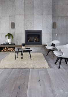 Natural Grey Wall Panel and Pale Grey in French Oak Floorboards Concrete Wood Floor, Concrete Wall Panels, Timber Flooring, Grey Flooring, Polished Concrete, Laminate Flooring, Concreate Floors, Grey Floorboards, White Washed Floors