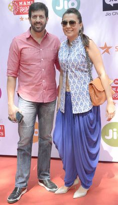 Kabir Khan and Mini Mathur : Photos: Bollywood celebs at the MAMI Movie Mela Dhoti Salwar Suits, Patiala Dress, Pakistani Dresses, Indian Dresses, Indian Outfits, Salwar Designs, Blouse Designs, Indian Attire, Indian Wear