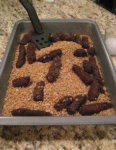 Gross Halloween party food - brownies in crushed grahams