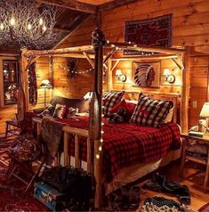 Buffalo check bedding, white string lights, twig chandelier, log bed, all in a c… - Schlafzimmer Log Cabin Bedrooms, Log Cabin Homes, Log Cabins, Log Home Bedroom, Rustic Cabins, Western Bedrooms, Log Cabin Interiors, Log Bedroom Furniture, Log Cabin Furniture